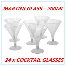 24 DISPOSAL PLASTIC COCKTAIL MARTINI GLASS 200ML REUSABLE WEDDING PARTY EVENT AP