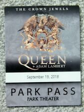 Queen W/ Adam Lambert Park Vegas Sep 19 2018 Orig Park Pass Credential Rare