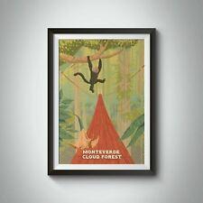 More details for monteverde cloud forest costa rica travel poster - framed - bucket list prints