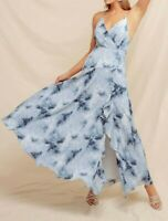 Holland Ruffle Tie Dye Maxi Dress Sleeveless Blue / White Size S NEW 👍