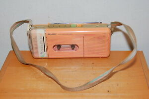 Sharp QT-5 P Pink AM FM Radio Cassette Recorder Player, 1980s cassette player