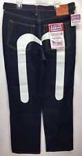 Evisu Genes Japan Made Blue Denim 33x36 Large Hand Painted Vintage Jeans Seagull