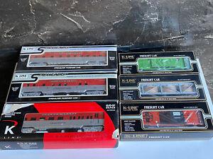 K-Line O Scale Steamliner Diner Stock Box Car Reefer Passenger Coach Lot Of 6
