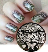 BORN PRETTY Nail Art Stamping Plate Flowers Butterfly Image Stamp Template #08