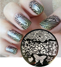 Nail Art Stamping Plate Flowers Butterfly Image Stamp Template  #08 BORN PRETTY
