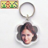 2x Blank Flower Shape Clear Acrylic Keyrings 35mm Photo key ring plastic F1429