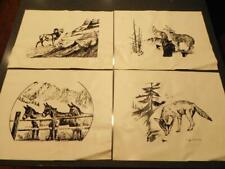 CLIFF McCURDY 4 Pc Wilderness INK PRINTS on VINYL Burro Ram Coyotes Placemants