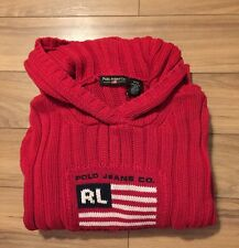 Polo Ralph Lauren Women's Sweater Cable Knit Vintage USA Flag Small Hoodie 80'