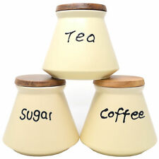 Tea Coffee Sugar  Ceramic Canister with wooden Lid Kitchenware Storage Set New