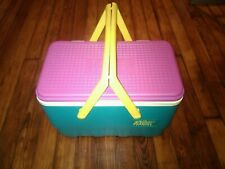 Retro 90's Cooler The Picnic Basket By Igloo Teal Pink And Yellow Minty!!!!