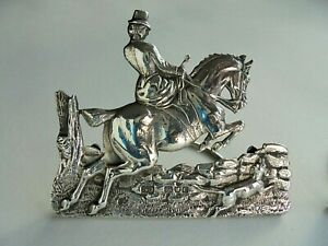 Pair Cast Silver Menu Place Card Holders Fox Hunting
