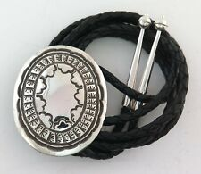 Bold Southwestern Sterling Silver Large Stamped Concho Style Bolo Tie