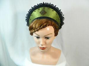 French Hood gruen Coronet Kokoshnik Haube Tudor Anne Boleyn Mittelalter Attifet