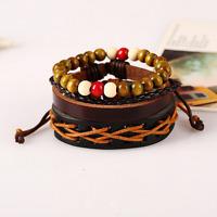 Punk Multilayer Wood Bead Weave Leather Bangle Men Bracelet Jewelry Accessory
