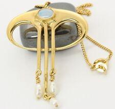 ♦♦14kt 585 Damen Gold Collier Bergkristall Flussperlen Perlen Halskette Kette♦♦