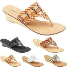 LADIES WOMENS LEATHER WEDGE SANDALS NEW SUMMER DRESS BEACH STRAPPY SHOES SIZE