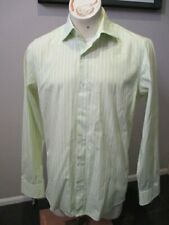 Hugo Boss Men's Green & White Striped Dress Shirt, Size M