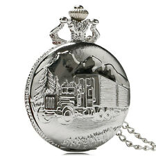 Silver Truck Forest Pocket Watch Quartz Necklace Full Hunter Chain Mens Womens