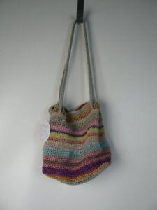 The Sak Casual Classics Drawstring 3-in-1 Striped Crochet Bag Satchel NWT S382