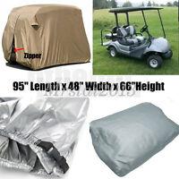"95"" 2 Passenger Golf Cart Cover Vents Zippered Sliver For EZ Go Club Yamaha Golf"
