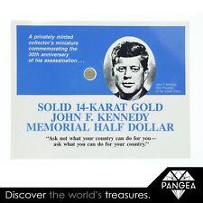 14k Gold John F. Kennedy 30th Anniversary Miniature Half Dollar Commemorative