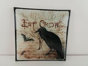 "Eat Crow Raven Glass 8"" Dish Tray"