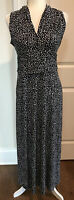 VINCE CAMUTO Small Sleeveless Maxi Long Dress Black & White V-Neck Polka Dots