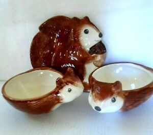 Better Homes & Garden Ceramic Squirrel Plate Dish and Bowl Set of 3