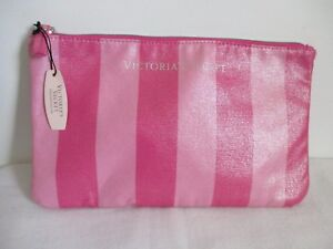 Victorias Secret Striped Lined Clutch Cosmetic Bag Striped Zip Top New 12 x 7