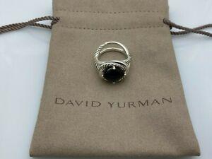 David Yurman sterling silver 925 Black Onyx 11mm Infinity Ring Size 8