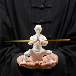porcelain monk statue Chinese kungfu posture Shaolin monk boy with bar tea pet