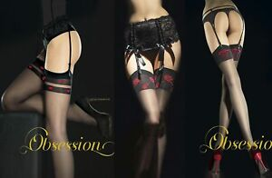 Sheer Black Stockings with Red Contrast Hearts, Bows or Roses Tops, 20 Denier