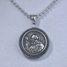 round stainless steel chain necklace Silver Saint Benedict of Nursia Openable