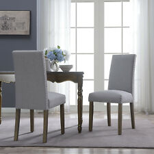 Set of 2 Elegant Design Modern Linen Parson Seat Dining Chairs Furniture (Gray)