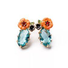 LES NEREIDES FRANCE ENAMEL CORAL PINK FLOWER  EARRINGS,AQUA BLUE STONE..