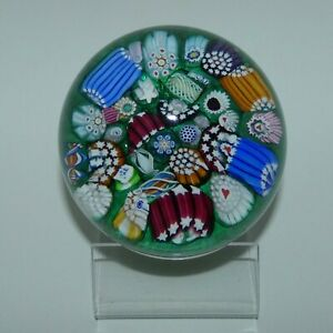 John Deacons Scotland Millefiori End of Day large paperweight GREEN