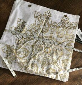 2 Rizzy Home Square Throw Pillow Covers White Gold Metallic Medallion 18x18