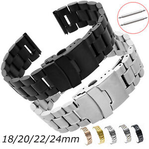 Stainless Steel Watch Band Metal Bracelet 18mm 20mm 22mm 24mm Sports Watchbands