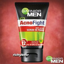 1x100 ML. Garnier Men Acno Fight Scrub in Foam Anti Acne Dullness Face Wash