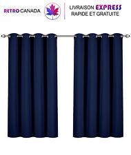Ensemble de 2 rideaux à œillets pour fenêtre à isolation thermique 52x63, Bleu