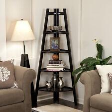 Black Five-Tier Corner Wooden Ladder Display Bookshelf Unit-Danya B™