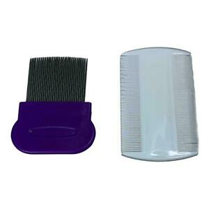2pc High Quality Metal & Plastic Nit Comb Fine Tooth Detection Remove Lice Eggs