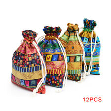 12pcs Candy Wedding Party Travel Purse Ethnic Style Drawstring Gift Bag
