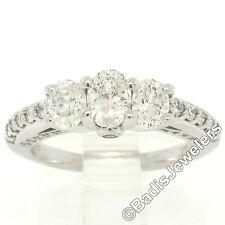 14k ORO BLANCO 1.50ctw Ovalado 3 Piedra Diamante Compromiso Anillo De Con /
