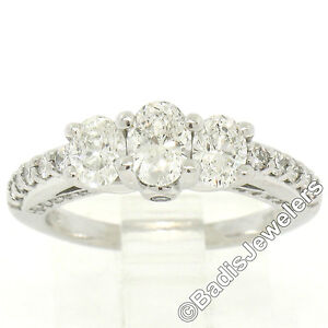 14k White Gold 1.50ctw Oval 3 Stone Diamond Promise Engagement Ring w/ Accents