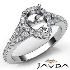 Genuine Pear Diamond Engagement Platinum Halo Pave Setting Semi Mount Ring 0.5Ct