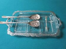 SILVER OVERLAY GLASS TRAY WITH SERVERS [MET1]