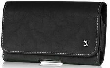 Horizontal Matte Pouch with Magnetic Closure for HTC One X - Black