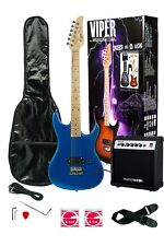 New Beginner Full Size 6 String Electric Guitar with 10w Amp Gig Bag Blue