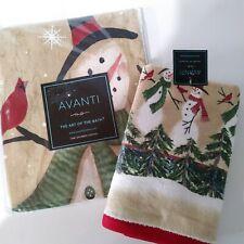 Avanti Tall Snowmen fabric shower curtain set & hand towel snowman winter new